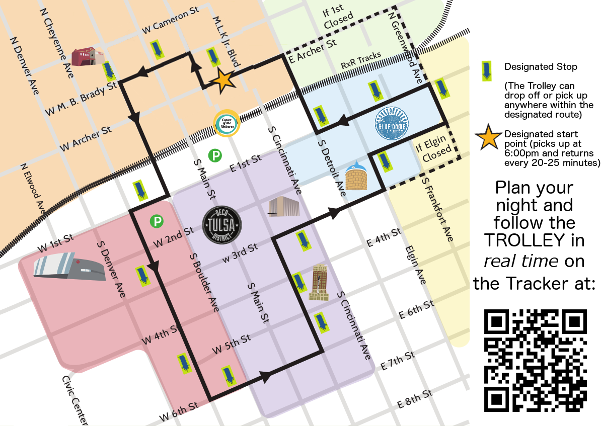 Tulsa Downtown Trolley Map